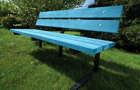 Heptonstall Metal Frame Bench Bright Blue